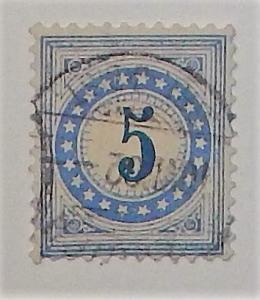Switzerland J4c. 1878-80 5c Ultramarine postage due, used