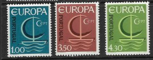 PORTUGAL - EUROPA 1966 - SCOTT 980 TO 982 - MNH