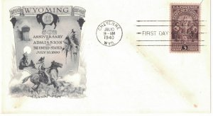 #897 FDC, 3c Wyoming 50th, 4 diff. cachets