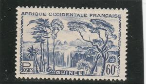 French Guinea  Scott#  142  MH  (1940 Forest Waterfall)