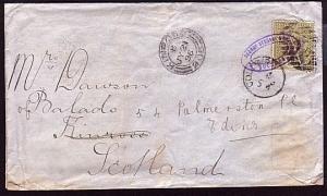 CEYLON 1896 cover Colombo to Scotland......................................32092