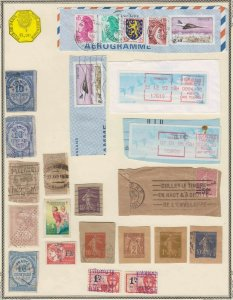 FRANCE REVENUE STAMPS AIRMAIL CINDERELLA MORE 25 STAMPS PAGE COLLECTION LOT