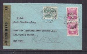 BOLIVIA, 1943 Registered Airmail Censored cover, La Paz to USA, 5b.(2), 10b.