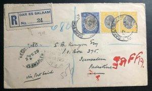 1929 Dar Es Salaam Tanganyika Registered Cover to Jerusalem Palestine Via Egypt
