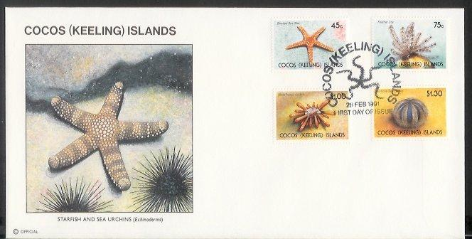 Cocos Is - 1991 Starfish and Sea Urchins (FDC)