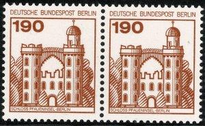GERMAN BERLIN 1977-87 GERMAN CASTLES 190pf PAIRS  MINT (NH) SGB523 P.14 SUPERB