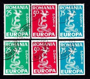 ROMANIA PRIVATE PRINT 1958 EUROPA THEME PERF-IMPERF SETS CDS VF SOUND