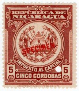 (I.B) Nicaragua Revenue : Capital Tax 5CD (ABN Specimen)