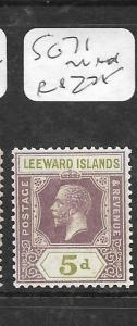 LEEWARD ISLANDS (P1504B) KGV 5D  SG 71  MNH