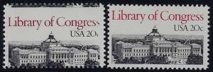 2004 - Misperf Error / EFO 20c Library of Congress Mint NH (Stk8)