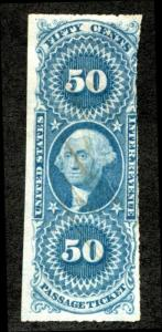 U.S. R61a used, 50c Passage ticket, imperf, blue, Fine