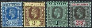 GOLD COAST 1913 KGV 21/2D 3D 1/- AND 2/6 WMK MULTI CROWN CA