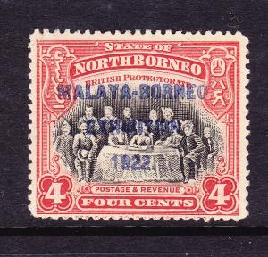 NORTH BORNEO  1922  4c MALAYA-BORNEO  EXHIBITION  MNG P14 1/2-15 SG 257b