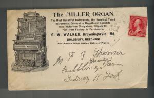 1902 Browningsville MSD USA Miller Organ Advertising Cover w/ltr G W Walker Agen