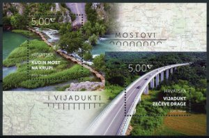 Croatia Architecture Stamps 2021 MNH Bridges & Viaducts Kude's Bridge 2v M/S