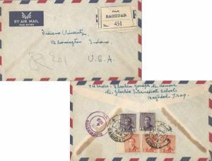 Iraq 4f (2) and 30f (3) King Faisal II 1955 Baghdad, Reg. Registered Airmail ...