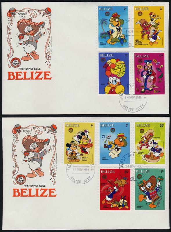 Belize 851a-i, 852 on FDC's - Disney, Christmas, Hispanic Holiday, Music