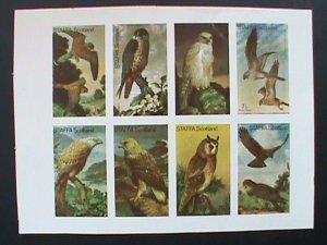 STAFFA SCOTLAND STAMP:RARE BIRDS IMPERF- MNH - MINI SHEET NO GUM AS ISSUED