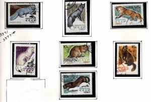 Russia Scott 3371-3377 Used Fur bearing animal stamp set