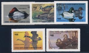 #OH5-OH9 (5) DIFF MINT NH OHIO STATE DUCK STAMPS BROOKMAN CV $112 BT3958