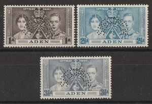 ADEN : 1937 KGVI Coronation set 1a, 2½a & 3½a, perf SPECIMEN.