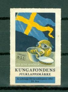 Sweden Poster Stamp MLH 1944. Kings Foundation. Swedish Flag. Imperforated