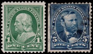 United States Scott 279, 281 (1897-98) Mint/Used H F-VF, CV $11.25 B