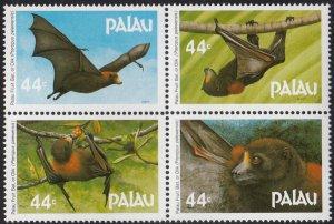 Palau 1987 MNH Sc 125a Block of 4 44c Fruit bats