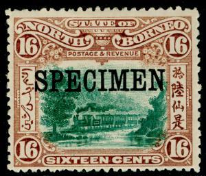 NORTH BORNEO SG107s, 16c green & chestnut, M MINT. SPECIMEN.