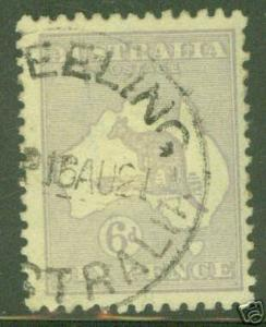 Australia Scott 8 Used Kangeroo Stamp CV $18