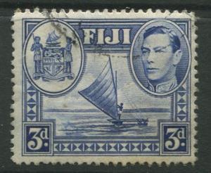 Fiji - Scott 122 - KGVI - Definitive - 1938 - FU - Single 3d Stamp