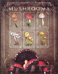 Nevis 2010 Mushrooms Sheet MNH
