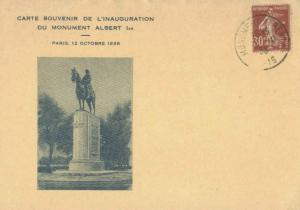 France 30c Sower 1938 Paris Monument Albert 1er Slogan Postcard with Inaugura...