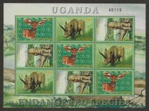 Uganda 2001 Endangered Species Animals Sheet #1691 VF-NH