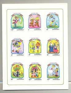 Grenada Grenadines #580-589 Disney Easter 9v & 1v S/S Imperf Proofs in Folder