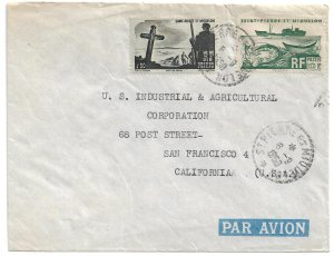 St. Pierre & Miquelon (France) - 1950 Commercial Air Cover to USA - Ships Fish