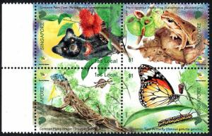 Singapore 1234, MNH. Care for Nature. Palm civet, Flying dragon, Frog, 2006