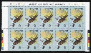 Barbados SG625w 1979 8c Frigate Bird Wmk INVERTED U/M Block of TEN