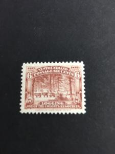 Newfoundland #66 Mint Exceptioally Fine NH Est. $12. 1897 6c Logging Attractive