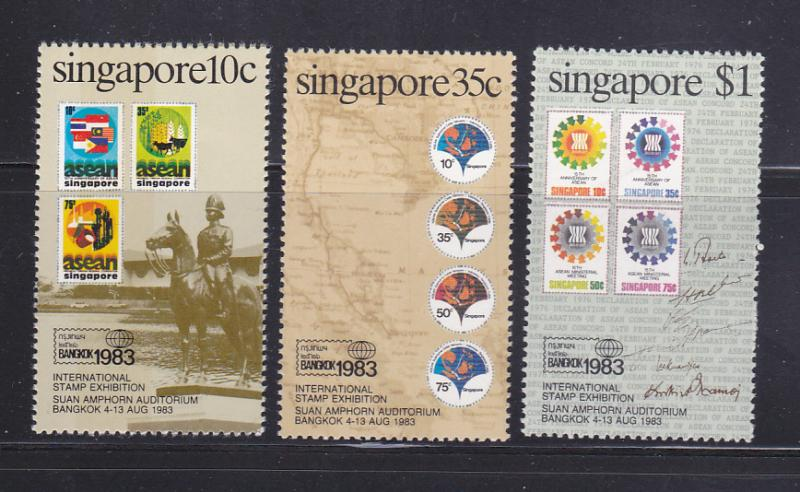 Singapore 423-425 Set MNH Stamps On Stamps