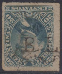 ARGENTINA 1878 VELEZ SARSFIELD Sc 36 CIRCULAR CANCEL & BL.. S/L POSTMARK RARE!