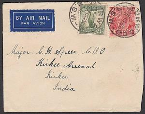 AUSTRALIA 1936 Airmail cover to India 1/2d rate inc. 1/- Lyre Bird.........57295