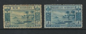 New Hebrides the used pair of the 2Fr  from 1938