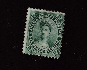 CANADA  # 18  F-USED 121/2cts QUEEN VICTORIA 1ST CENTS ISSUE / YEL-GREEN CV $80