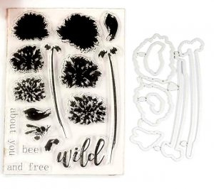Wild Flowers bees leaves words silicone stamp and coordinating dies set