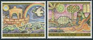 Vatican 548-549 two sets,MNH.Michel 633-634. UPU-100,1974.Mosaics:Bird,Sheep.