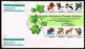 US STAMP #1757 1978 13¢ CAPEX Wildlife Souvenir Sheet of 8 FDC