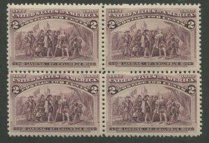 1893 United States Postage Stamp #231 Mint Never Hinged F/VF OG Block of 4