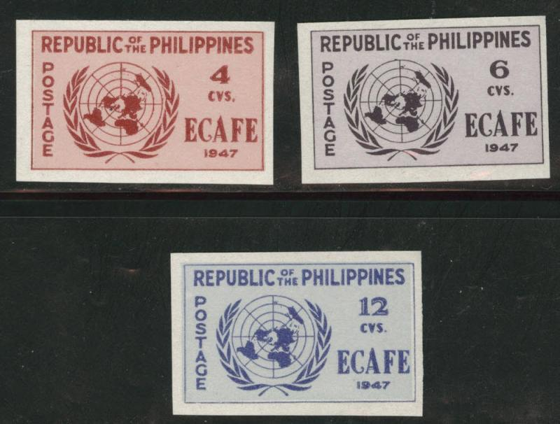 Philippines Scott 516-518a MH* ECAFE imperforate set CV$20