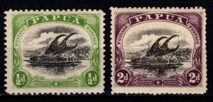 Papua New Guinea 1907-10 1/2d and 2d [Unused]